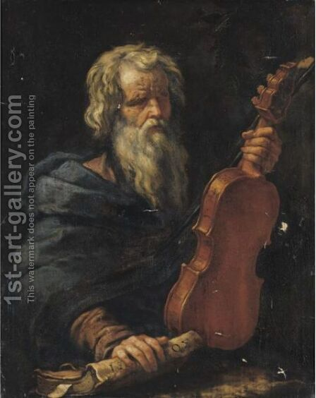 Homer With A Violin by (after) Pier Francesco Mola - Reproduction Oil Painting