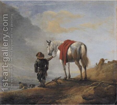 A Man Leading A Grey Horse by (after) Philips Wouwerman - Reproduction Oil Painting