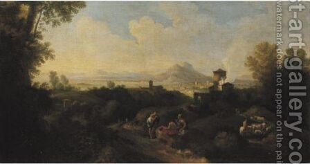 Italianate Landscape With Figures by (after) Jan Frans Van Orizzonte (see Bloemen) - Reproduction Oil Painting