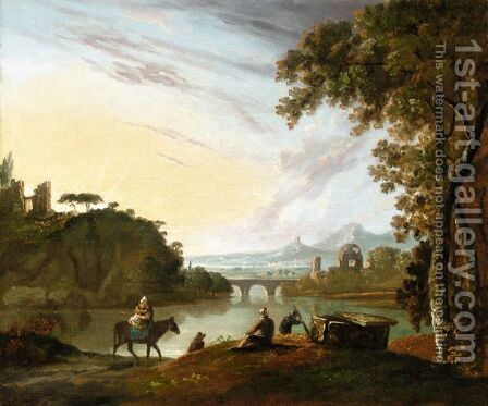 Travellers Resting By A Tomb Beside A Lake In A Classical Landscape by (after) Richard Wilson - Reproduction Oil Painting