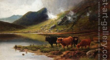 Highland Cattle On A Loch by Daniel Sherrin - Reproduction Oil Painting