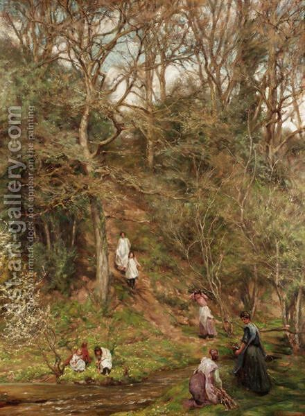 A Walk In The Woods by Edgar Barclay - Reproduction Oil Painting