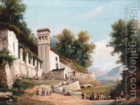 Il Duomo, Amalfi by (after) Giacinto Gigante - Reproduction Oil Painting