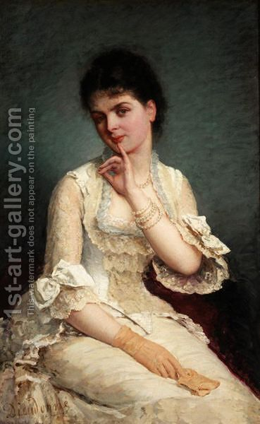 Portrait Of An Elegant Lady In A White Dress by E. Dieudonne - Reproduction Oil Painting