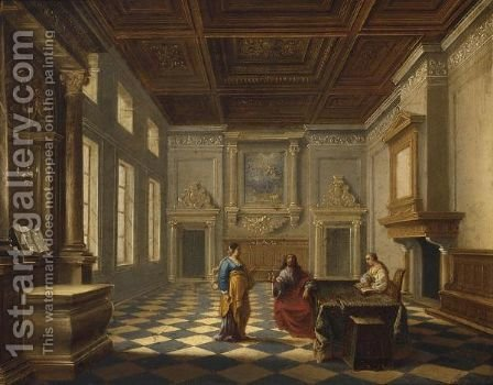 Christ With Martha And Mary In A Palace Interior by (after) Bartholomeus Van Bassen - Reproduction Oil Painting