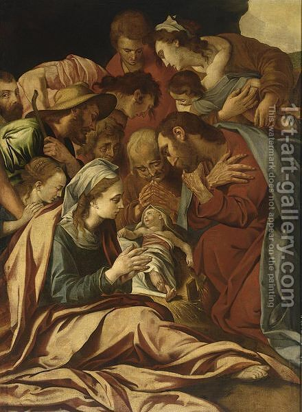 The Adoration Of The Shepherds by (after) Pellegrino Tibaldi - Reproduction Oil Painting