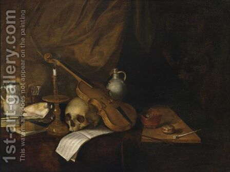 A Vanitas Still Life With A Violin, A Music Book, A Candlestick, A Skull, Books, A Conch Shell, A Pipe And Jugs by Dutch School - Reproduction Oil Painting