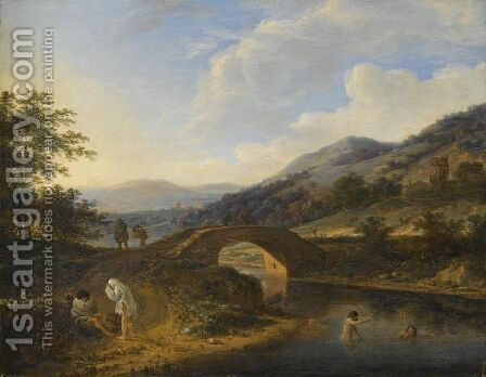A Hilly Landscape With Bathers In A River Near A Stone Bridge With Travellers by Herman Saftleven - Reproduction Oil Painting