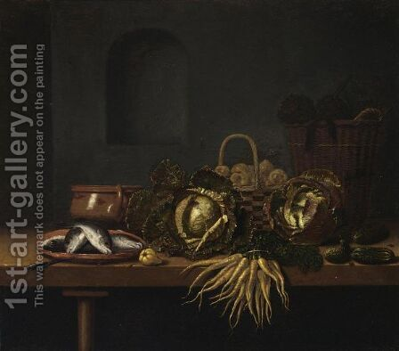A Still Life With Cabbages, Carrots, Gherkins, Fish On An Earthenware Plate by Hubert van Ravesteyn - Reproduction Oil Painting