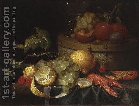 A Still Life With Crayfish, Grapes, Lemons, Cherries, Walnuts, A Box With A Berkemeier And Peaches, All On A Draped Table by (after) Guilliam Van Deynum - Reproduction Oil Painting