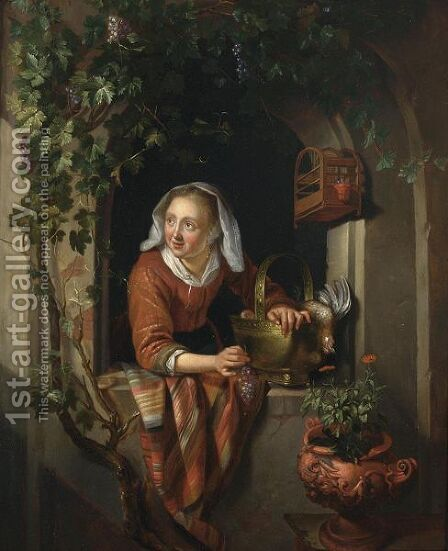 A Woman At A Partially Draped Casement With Dead Fowl In A Bucket By A Birdcage And Flowers In An Urn by (after) Gerrit Dou - Reproduction Oil Painting