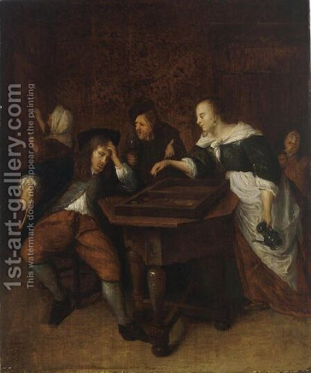 An Interior With Figures Playing Tric-Trac by Jan Havicksz. Steenleiden - Reproduction Oil Painting