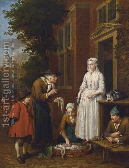 Fishmongers Selling Fish To An Elegant Lady by (after) Jan Josef, The Elder Horemans - Reproduction Oil Painting