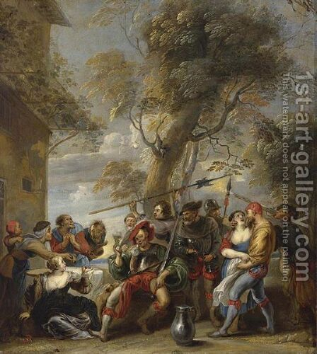 Bandits Assaulting A Group Of Peasants Outside An Inn by (after) Willem Van, The Elder Herp - Reproduction Oil Painting