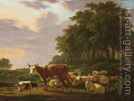 A Landscape With Cows, Sheep And Goats, And Houses Near The Edge Of A Wood With Figures by Jacob van Strij - Reproduction Oil Painting
