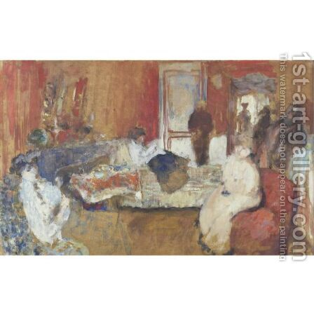 Dans La Chambre Rouge by Edouard  (Jean-Edouard) Vuillard - Reproduction Oil Painting