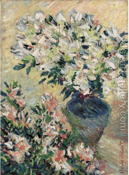 Azalees Blanches En Pot by Claude Oscar Monet - Reproduction Oil Painting