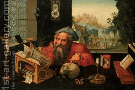 Saint Jerome In His Study by (after) Pieter Coecke Van Aelst - Reproduction Oil Painting