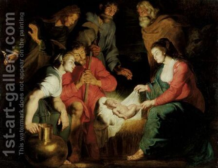 The Adoration Of The Shepherds 5 by (after) Sir Peter Paul Rubens - Reproduction Oil Painting