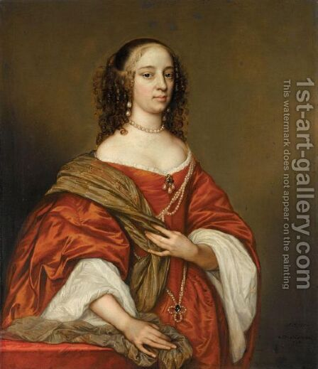 Portrait Of A Lady, Three-Quarter Length, Wearing Pearls And An Orange Dress by Adriaen Hanneman - Reproduction Oil Painting