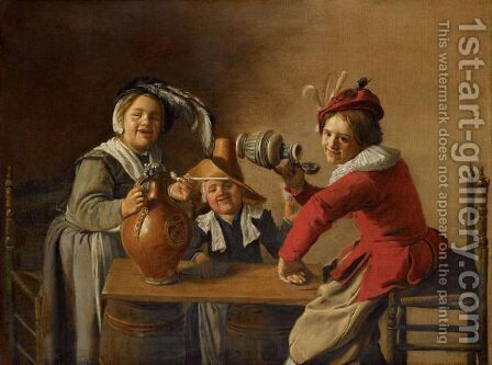 An Interior With Children Drinking And Mischief-Making by Jan Miense Molenaer - Reproduction Oil Painting