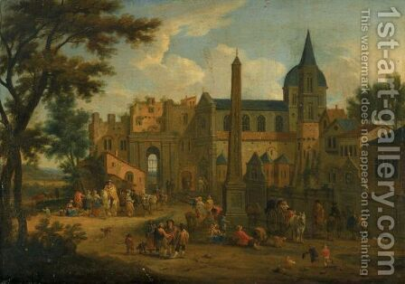 An Italianate Landscape, With Numerous Figures In A Piazza Before A Church by Mathys Schoevaerdts - Reproduction Oil Painting