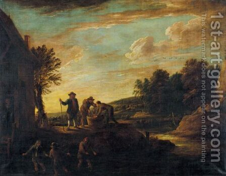 An Extensive Landscape With Fishermen In A River And Others Salting Fish On The Bank by (after)  David The Younger Teniers - Reproduction Oil Painting