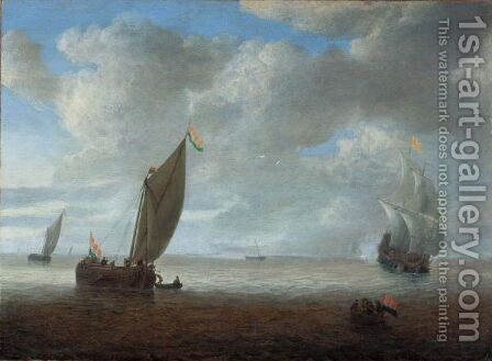 Dutch Coastal Vessels In A Light Breeze, A Man Of War Firing A Salute Beyond by Hendrik van Anthonissen - Reproduction Oil Painting