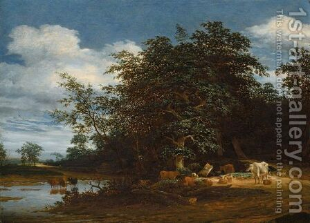 An Extensive Wooded River Landscape With Cattle And Sheep by Jacob Salomonsz. Ruysdael - Reproduction Oil Painting