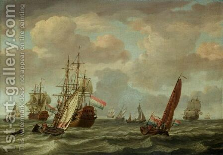 A Dutch Man-O-War And A Two-Decker In A Stiff Breeze by Adam Silo - Reproduction Oil Painting