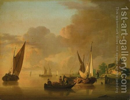 A River Landscape With Smalschips Unloading Their Cargo, Together With A Rowing Boat by Jan van Os - Reproduction Oil Painting