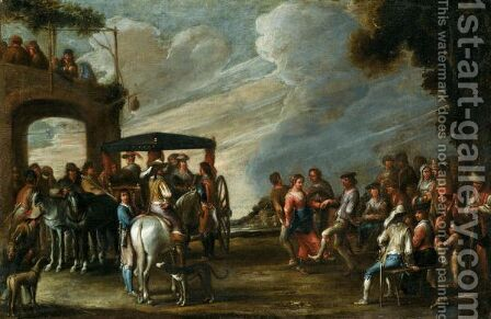 A Landscape With Ladies Descending From A Carriage Before A Tavern, Together With Figures Merrymaking And Dancing by Cornelis de Wael - Reproduction Oil Painting
