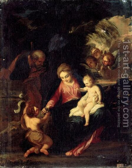 The Holy Family With Saint John The Baptist by (after) Pier Francesco Mola - Reproduction Oil Painting
