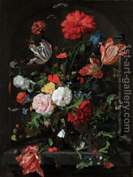 Still Life With Flowers In A Glass Vase On A Stone Ledge Before A Niche by (after) Jan Davidsz. De Heem - Reproduction Oil Painting