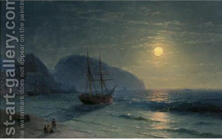 Full Moon Over The Ayu-Dag by Ivan Konstantinovich Aivazovsky - Reproduction Oil Painting