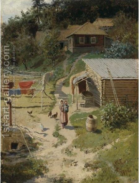Farmstead With A Woman And Child by Alexander Alexandrovich Kiselev - Reproduction Oil Painting