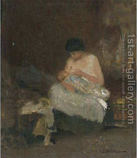 Maternite, Ninie by Ivan Pavlovich Pokhitonov - Reproduction Oil Painting