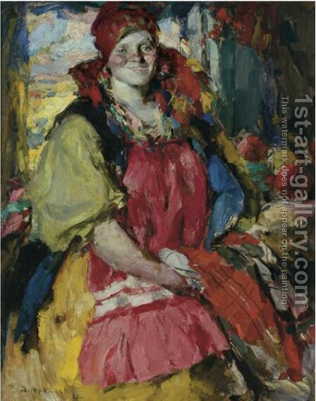 Girl With Apples by Abram Efimovich Arkhipov - Reproduction Oil Painting