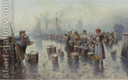 Fishermen In The Harbour by Adolf Baumgartner-Stoiloff - Reproduction Oil Painting