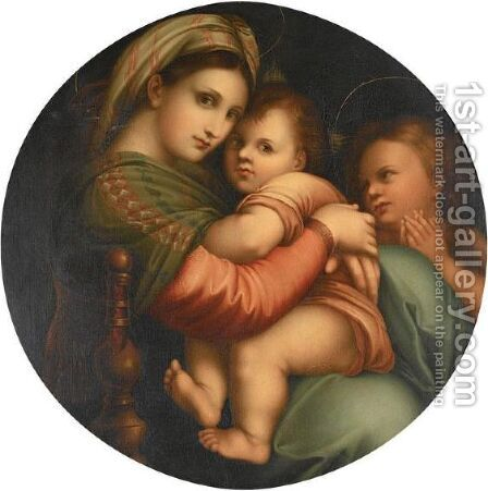 'The Madonna Della Sedia' by (after) Raphael (Raffaello Sanzio of Urbino) - Reproduction Oil Painting