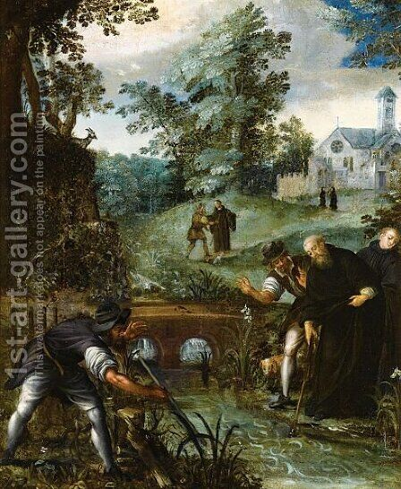 Saint Benedict Retrieving The Blade Of The Woodcutter's Axe From The Water by (after) Jan Soens - Reproduction Oil Painting