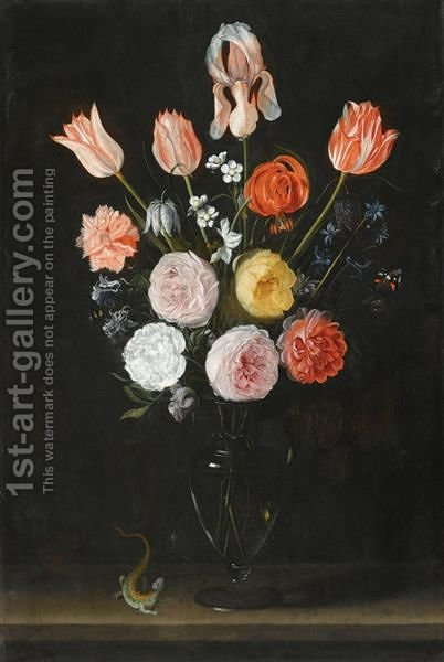 A Bouquet Of Flowers Including Tulips, Roses And Carnations, In A Glass Vase by (after) Daniel Seghers - Reproduction Oil Painting