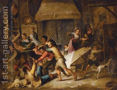 Tavern Interior With Boors Fighting by (after) Cornelis De Wael - Reproduction Oil Painting