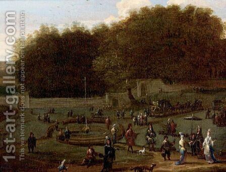 Elegant Company Promenading In A Walled Park by Jan Baptist van der Meiren - Reproduction Oil Painting
