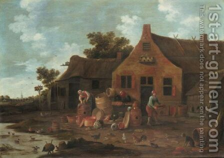 Landscape With Two Peasants Washing Their Pots Before A Cottage by Dutch School - Reproduction Oil Painting