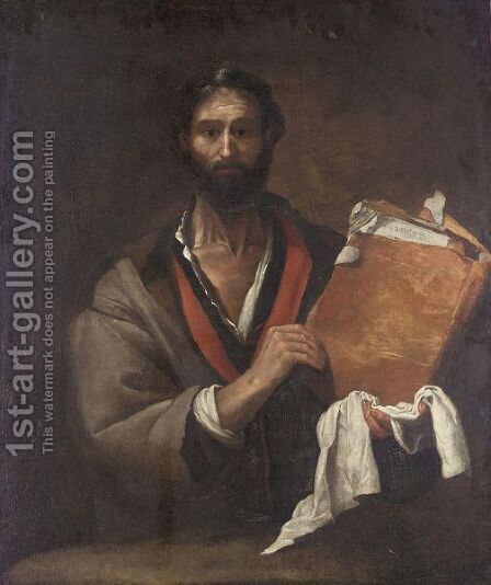 A Philosopher Holding A Book 2 by (after) Jusepe De Ribera - Reproduction Oil Painting