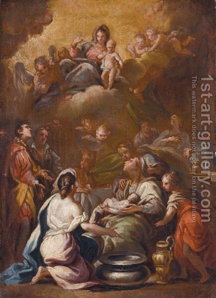 The Birth Of The Virgin by (after) Luca Giordano - Reproduction Oil Painting