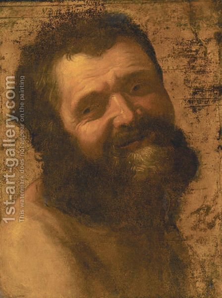 Portrait Of A Bearded Man Laughing, Head And Shoulders by (after) Honthorst, Gerrit van - Reproduction Oil Painting