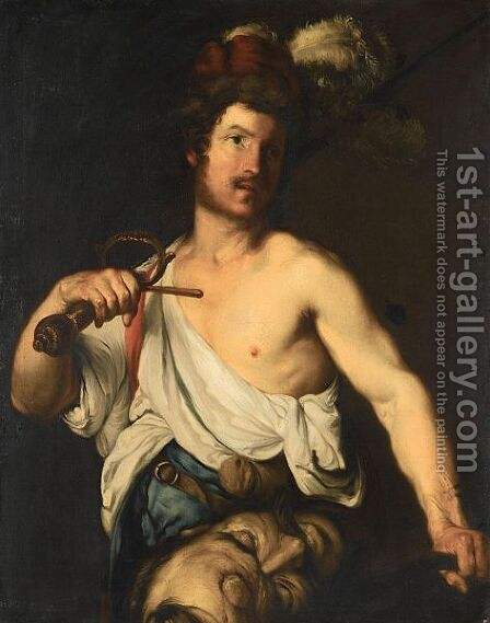 David With The Head Of Goliath by (after) Bernardo Strozzi - Reproduction Oil Painting
