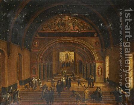 A Romanesque Palace Interior by Italian School - Reproduction Oil Painting